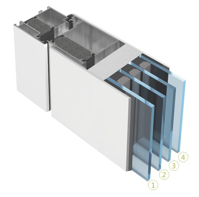 Section transversale du verre